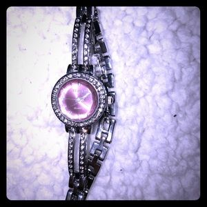 Fashion pink and silver bracelet watch